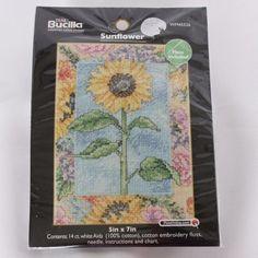 "Bucilla Sunflower Counted Cross Stitch Kit 5"" x 7""  14 Count Mini Small  #Bucilla #Frame"