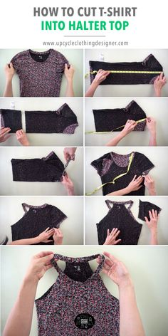Diy Cut Shirts, Umgestaltete Shirts, T Shirt Diy, Cut A Shirt, T Shirt Cutting, Tee Shirt Crafts, T Shirt Hacks, Clothes Crafts, Sewing Clothes