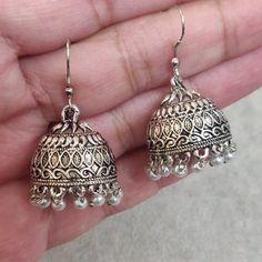 Jhumki Earrings, Indian Earrings, Dangle Earrings, Antique Earrings, Earring Backs, Chandelier Earrings, Antique Silver, Dangles, Antiques