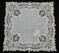 antique victorian hankie brussels | Found on vintagetextile.com