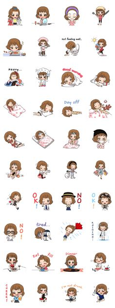 Third StampGirl is coming. It's her everyday life this time. Let's share your message and feeling with cute Sticker.