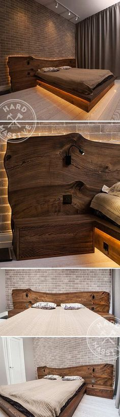 Floating double bed and nightstands Large bed made of solid woods Karagach and Chinar Cover eco oilwax Beautiful LED lighting bed