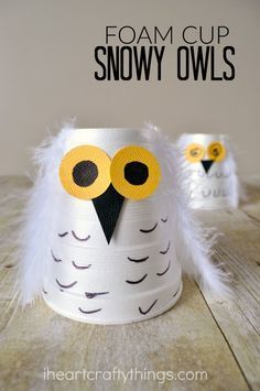 a cute snowy owl kids craft out of a small foam cup. Great winter craft for. Make a cute snowy owl kids craft out of a small foam cup. Great winter craft for.Make a cute snowy owl kids craft out of a small foam cup. Great winter craft for. Kids Crafts, Daycare Crafts, Winter Crafts For Kids, Winter Kids, Toddler Crafts, Fall Crafts, Diy For Kids, Holiday Crafts, Crafts To Make