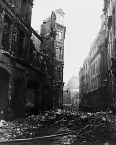 January 1941: Bomb damage caused by an incendiary air raid on Ave Maria Lane. The raid took place on 29th December 1940. The building on the left is Simpkin Marshall, wholesale booksellers and publishers.