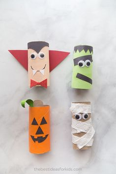 Halloween toilet paper crafts - mummy - jack-o-lantern, dracula, frankstein These Halloween toilet paper roll crafts are so easy and fun to make! Make a pumpkin, mummy, vampire and frankestein toilet paper craft. Halloween Craft Activities, Halloween Arts And Crafts, Halloween Crafts For Toddlers, Theme Halloween, Halloween Crafts For Kids, Toddler Crafts, Halloween Ideas, Paper Halloween, Halloween Makeup