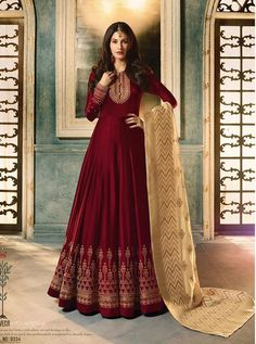 Buy Amyra Dastur Maroon Abaya Style Anarkali Suit online, SKU Code: This Maroon color Party anarkali suit for Women comes with Embroidered Faux Georgette. Robe Anarkali, Costumes Anarkali, Silk Anarkali Suits, Saree, Bridal Anarkali Suits, Lehenga Suit, Bridal Lehenga, Indian Designer Outfits, Indian Outfits