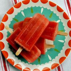 Watermelon Lime Popsicles: 1) 5 cups seedless watermelon (about 1/4 of a large watermelon), diced 2) Juice of 1/2 lime (I did the juice of 2 limes which is better) 3) 2 tablespoons sugar. 4) Put in a blender and blend well. 5) Freeze. This would also be good frozen in ice cubes and add sprite right before a party.
