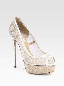 Valentino  Lace & Satin Bridal Peep Toe Platform Pumps