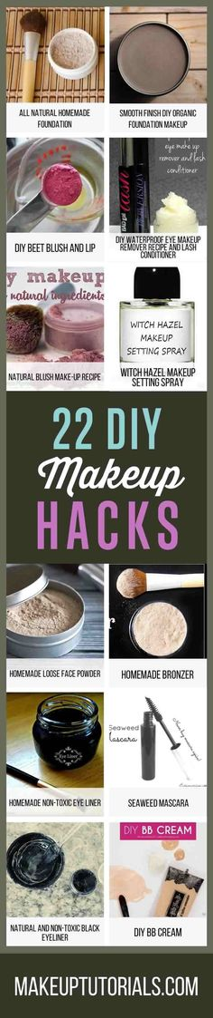22 DIY Makeup Hacks You Wish You Knew About By Makeup Tutorials. http://makeuptutorials.com/22-diy-cosmetics-easy-makeup-recipe-ideas/