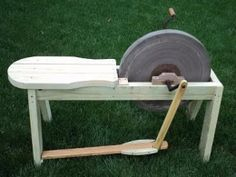 Treadle Grinder - Homemade treadle grinder constructed from treated oak and…