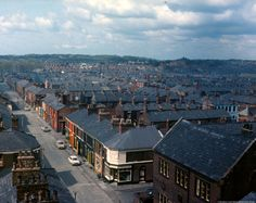 c.1970. Colour photographic transparency showing an aerial view over the Westfield Street area of St.Helens taken from the top of St Thomas's Church of England Church tower. Photographic transparencies of houses subject to Compulsory Purchase Orders in the Westfield Street, St.Helens area.