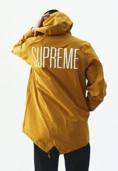 Black & Yellow. Big Print. Supreme. Typo. Street. Wear. Clothing. Autumn. Jacket. Protection. Color. Hood. Fashion. Man. Style. Skate.