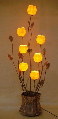 Mulberry Rice Paper Ball Handmade Seven Flower Bud Design Art Shade Yellow Round Globe Lantern Floor Uplight Lamp