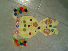Easter bunny cutout. I got the template off of clip art on Word. Taped it to 4 different colors of card stock, cut them out, marked out the eyes, nose, mouth, arms, and eyebrows and let my daughter put whatever she wanted. Easy busy and decor craft!