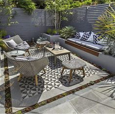 Private Small Garden Design ideas for this small south London courtyard garden e. - Private Small Garden Design ideas for this small south London courtyard garden evolved from the client's love of the hand made Italian tiles Source by - Garden Seating, Small Backyard, Small Garden Design, Small Gardens, Outdoor Living Areas, Family Garden, Small Garden Inspiration, Outdoor Flooring