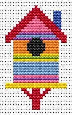 Sew Simple Birdhouse cross stitch kit from Fat Cat Cross Stitch Finished size approx 5.3cm x 9cm. Kit contains 11ct white aida fabric, stranded embroidery cotton, needle, colour chart and instructions. A brand new kit will be sent directly to you by Fat Cat Cross Stitch - usually within 2-4 working days © Fat Cat Cross Stitch