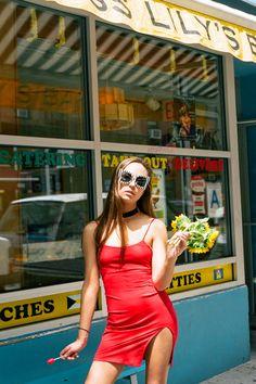 """'Nothing says Soho like '90s """"supermodels"""" wearing """"dresses.""""' - Marissa #nyc #minidress"""