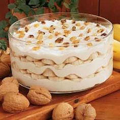 Pudding de plátano y nueces