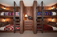 Lodge style bunks! Maybe in my future home!