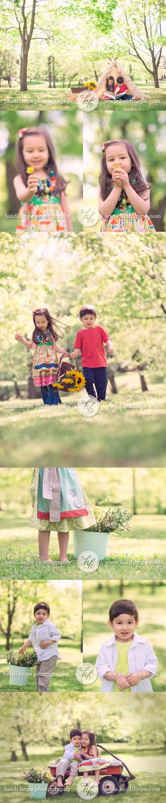 outdoor sibling session at the park with flowers and tent