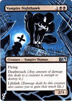 Altered mtg card Magic 2013 Vampire Nighthawk as Venom alter…