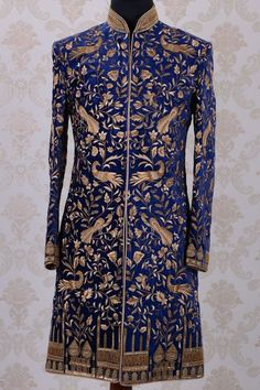 Wedding Sherwani-Dark Blue & Gold-Resham Thread Work-SH267