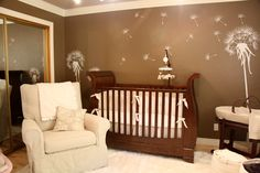 Dandelion wall decal in the nursery - what a sweet gender neutral space!