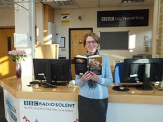 Pauline Rowson with Art Marvik crime novel Silent Running at BBC Studios March 2015