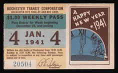 Weekly pass from Rochester (New York) Transit Corporation (1941)