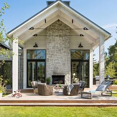 Indeed, people build pool house add beauty value to the owner's property. Find out most popular Pool House Ideas around the net here! House Design, Cottage, House, House Exterior, Building A House, Exterior Design, New Homes, Outdoor Fireplace, Modern Farmhouse