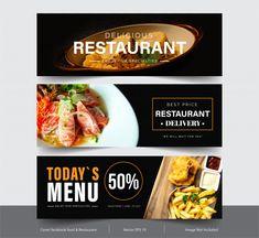 Design banner for social networks, templ... | Premium Vector #Freepik #vector #banner #food #menu #sale Restaurant Delivery, Facebook Cover Template, Delicious Restaurant, Stock Image, Vector Photo, Banner Design, Social Networks, Stock Photos, Adobe