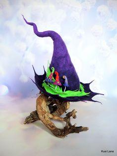 Fantasy hat for witch, shaman, wizard, druid, elf . Elf Cosplay, Elf Costume, Felt Witch Hat, Renaissance Festival Costumes, Mushroom Hat, Fantasy Witch, Magic Hat, Halloween Hats, Elf Hat