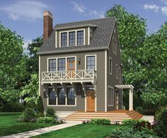 Looking for a narrow lot 3-story home without a garage, then you'll want to check out House Plan 8541. Three bedrooms occupy the 2nd floor and there's a third story media and bonus room - perfect for the kids. http://www.thehousedesigners.com/plan/hadaway-8541/