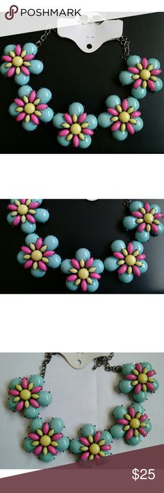 New! Super Chunky Retro Statement Flower Necklace New! Super Chunky Retro Statement Flower Necklace  Multicolored  Total length: 23 inches end to end Each flower: 2 inches Jewelry Necklaces