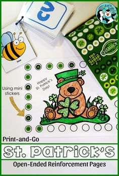 St. Patrick's Day print-and-go pages to reinforce trials in speech/language/or ANY skill!