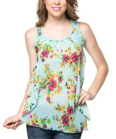 This Jade Floral Ruffle Cutout Tank by Magic Fit is perfect! #zulilyfinds