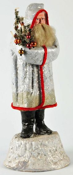 Holds a feather tree piece and has a fur beard, German Christmas, Antique Christmas, Christmas Past, Father Christmas, Christmas Candy, All Things Christmas, Christmas Holidays, Christmas Decorations, Christmas Ornaments