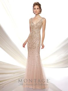 Ivonne D Exclusively for Mon Cheri - 116D23 - Sleeveless hand-beaded tulle trumpet gown with front and back V-necklines, dropped waist, sweep train. Matching shawl included.Sizes: 4 - 20Colors: Rose/Gold, Charcoal