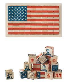 PRESIDENT BLOCK SET   U.S. Presidents Wooden Blocks, American Flag   UncommonGoods