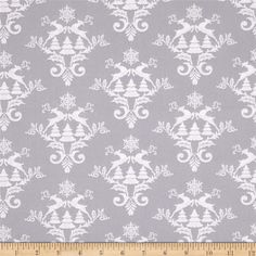 Winter Essentials III Damask Gray from @fabricdotcom  Designed for StudioE Fabrics, this cotton print fabric is perfect for quilting, apparel, and home decor accents. Colors include grey and white.