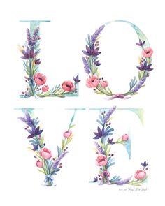Watercolor Floral Love Art Print of watercolor от FourWetFeet
