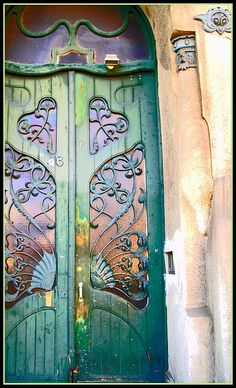 Door by Ödön Lechner, Budapest -look at that rainpipe too...wow