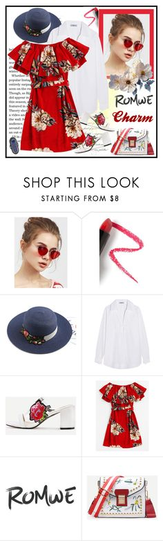 """Red Floral Dress - Romwe"" by carola-corana ❤ liked on Polyvore featuring Lapcos and Prada"