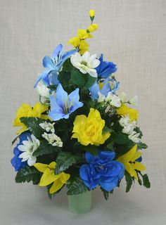 No.C0135 Spring Cemetery Arrangement. , Spring Cone Flower, Cone Arrangement,Grave,   Tombstone arrangement,  Cemetery flowers by AFlowerAndMore on Etsy