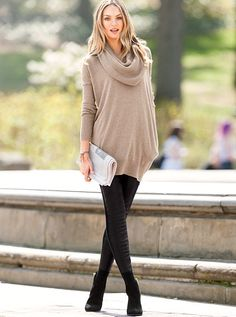 Faux Leather-front Legging + Camel Cowl Tunic
