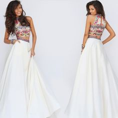 Two Piece Sherri Hill Dress with Embroidered Top