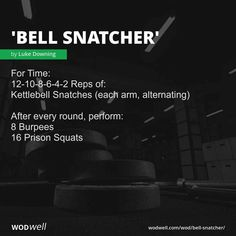 """""""Bell Snatcher"""" WOD - For Time: Reps of:; Kettlebell Snatches (each arm, alternating); After every round, perform:; Crossfit Wods, Crossfit At Home, Crossfit Equipment, Easy At Home Workouts, Fit Board Workouts, Running Workouts, Kettlebell Snatch, Kettlebell Training, Amrap Workout"""