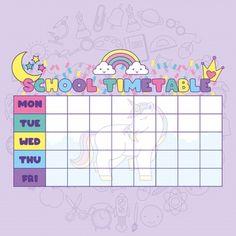 School timetable with cute fantasy universe Premium Vector Kids Planner, School Planner, Weekly Planner, Weekly Schedule, Planner Template, Schedule Templates, Printable Planner, Timetable Planner, School Timetable