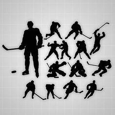 Hockey players wall silhouettes, boys Hockey players decals,boys room decor
