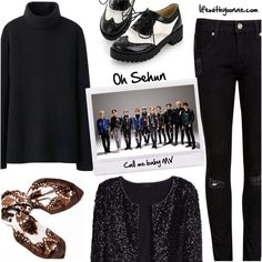 Oh Sehun from EXO K Call me baby MV inspired by look Exo K, Sehun, Uniqlo, Call Me, Tom Ford, Ted Baker, Inspired, Shoe Bag, Polyvore